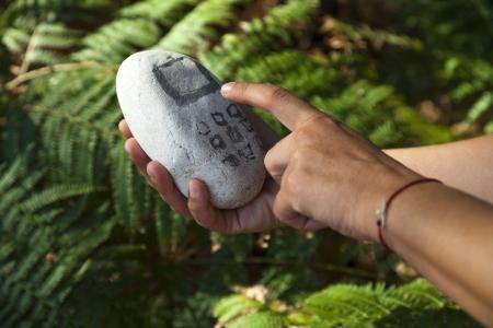 Paleolithic stone mobile phone