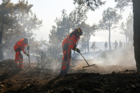 THESSALONIKI, GREECE - AUGUST 26: Fire department in action at a Seich Sou forest low scale fire on August 26,2011 in Thessaloniki, Greece. Editorial