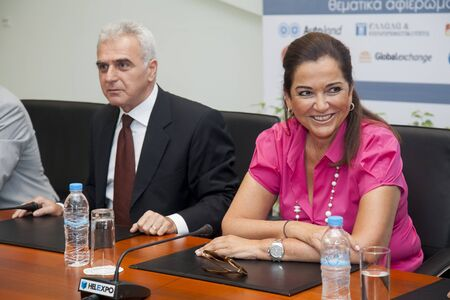 parlance: THESSALONIKI, GREECE - SEP 15: The president of the movement Democratic Alliance Dora Bakogianni gives press conference at international fair on September 15, 2011 in Thessaloniki, Greece.
