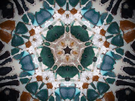 kaleidoscopic: Fractal kaleidoscope background with images forming a star-shaped pattern