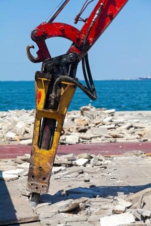 jack tar: Large Jackhammer - pneumatic drill breaking street asphalt Stock Photo