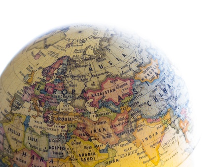 Part of a globe with map of Europe and Asia isolated on white background Stock Photo