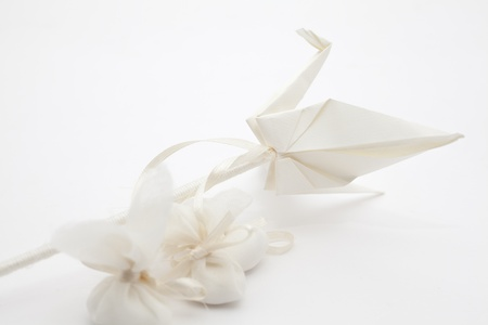 Elegant Wedding Favors decorated with origami birds
