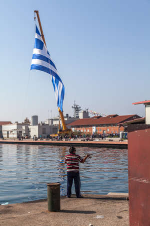 THESSALONIKI,GREECE-OCT.26: The biggest Greek flag ever built, area 480 square meters waving in the celebrations for the centenary of the liberation of the city on Oct 26,2012 in Thessaloniki, Greece