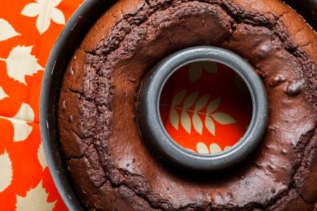 Freshly baked Chocolate cake in a baking pan