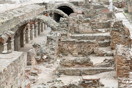 The Roman Ancient Market in Thessaloniki - Greece  Ruins standing at the Law Court Square