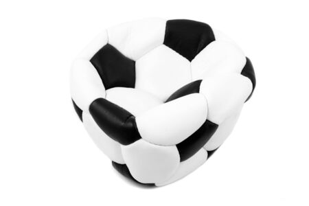Deflated soccer ball isolated on white photo