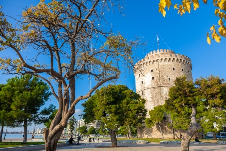 focal point: THESSALONIKI, GREECE - NOE 22: The white tower is the focal point of the city and all meetings arranged in this region. Also constitutes as a recreational park on NOE 22, 2012 in Thessaloniki, Greece Editorial