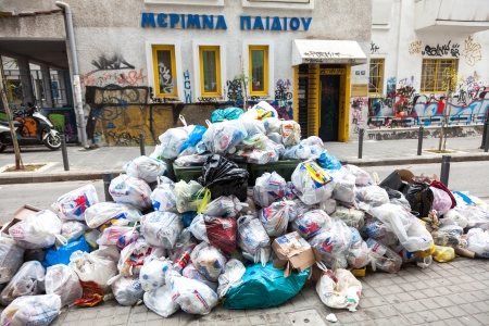 THESSALONIKI, GREECE - NOVEMBER 26: Piles of garbage in the center of Thessaloniki due to strike on November 26, 2012 in Thessaloniki, Greece. Source of infection for citizens