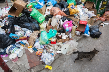 THESSALONIKI, GREECE - NOVEMBER 26: Piles of garbage in the center of Thessaloniki due to strike on November 26, 2012 in Thessaloniki, Greece. Source of infection for citizens  Editorial