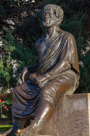 The statue of the philosopher Aristotle at Aristotelous Square, Thessaloniki, Greece photo