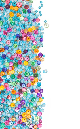 Colorful beads, with space for photo or text isolated on white background