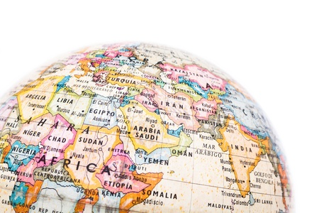Part of a globe with map of Africa and Saudi Arabia isolated on white background Stock Photo - 19039656