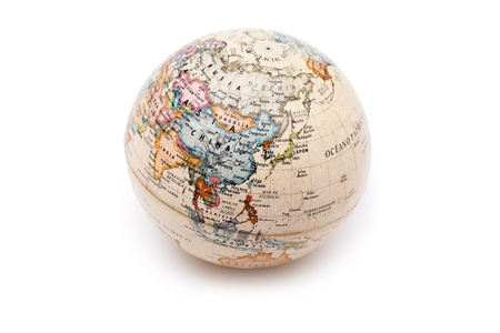 Part of a globe with map of China and Russia isolated on white background Stock Photo