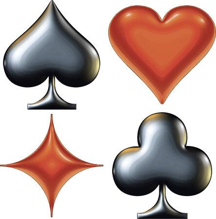 playing card symbols: Conjunto de s�mbolos de vector de la tarjeta de juego de luces y sombras. Ilustraci�n vectorial Eps 10