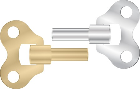 winder: Old clock key winder set. Vector illustration Eps 10 Illustration