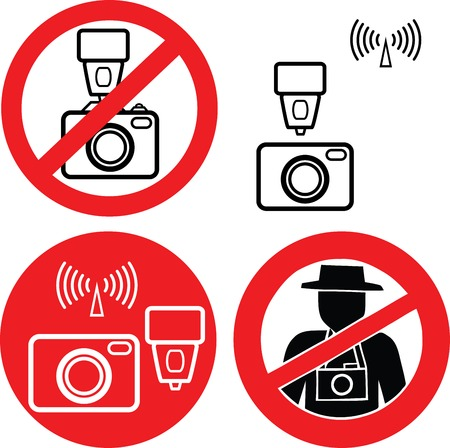 No photo camera vector signs isolated on white background. Vector illustration Eps 10