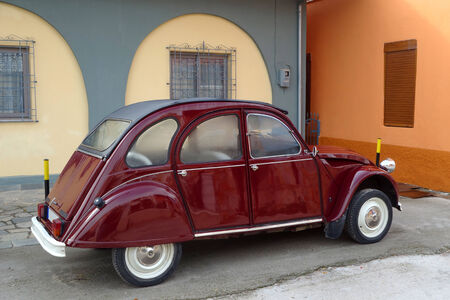 french fancy: Small Eastern European Car in the old part of Drama city in Greece Stock Photo