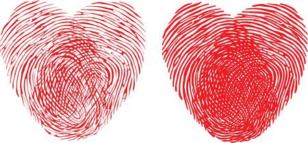 Fingerprint heart. Vector Illustrator eps 10.
