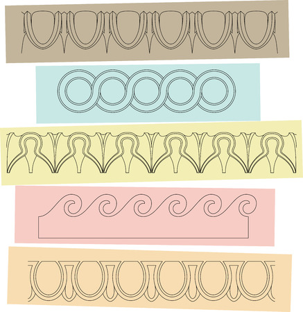 hellenistic: Greek style border ornaments, meanders. Vector illustration eps 10 Illustration