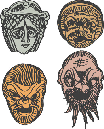 classical theater: Classical Greek Theater Mask Set illustration  Illustration