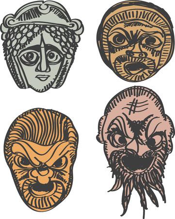 theater mask: Classical Greek Theater Mask Set illustration  Illustration