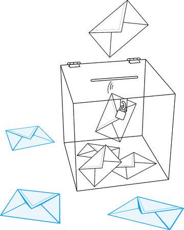 designate: Ballot box with some folders illustration  Illustration