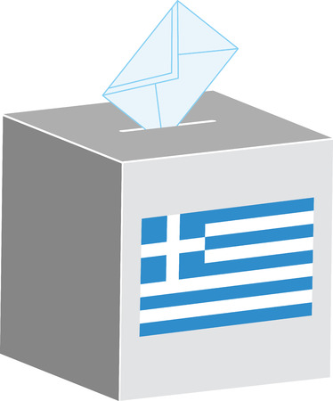 designate: Ballot box with flag of Greece illustration