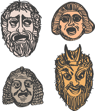 sullen: Classical Greek Theater Mask Set illustration  Illustration