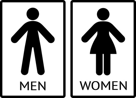 Men And Women Signs, WC Icons, Restroom Signs, Toilet Pictograms. Vector  Illustration