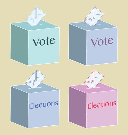voting ballot: Ilustraci�n de un urnas, s�mbolo para la votaci�n y la pol�tica. Ilustraci�n vectorial