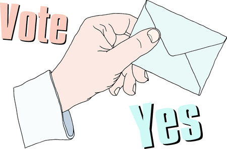 opinion poll: Hand with voting ballot. Vector illustration Illustration