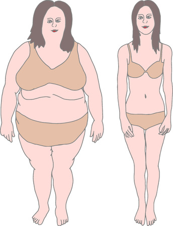 Fat and Thin Girl (Before and After). Vector illustration eps 10 Illustration