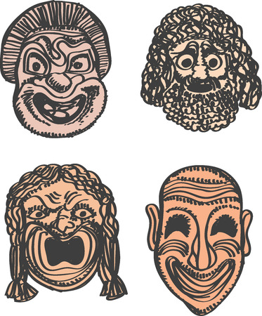 classical theater: Classical Greek Theater Mask Set. Vector illustration Eps 10 Illustration