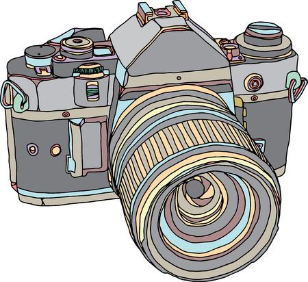 Vintage old photo camera draw. Vector illustration eps 10 Vector