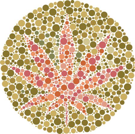 tetrahydrocannabinol: Ishihara color test plate with the shape of cannabis leaf. Vector Illustrator EPS 10.