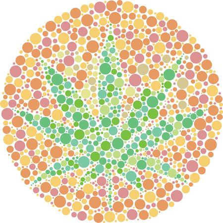 randomized: Ishihara color test plate with the shape of cannabis leaf. Vector Illustrator EPS 10.
