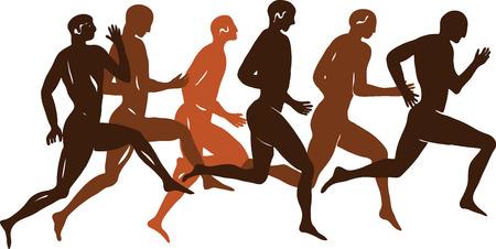 Ancient Greek figure - sportsmen runners in a vector Stock Vector - 36657468