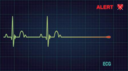 er: Flat line alert on a heart monitor. Vector illustration Eps 10