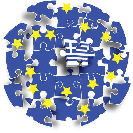 eurozone: Jigsaw puzzle showing Greece removed from the European Union. Vector illustration Eps 10