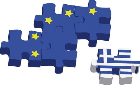 spilt: Jigsaw puzzle showing Greece removed from the European Union. Vector illustration Eps 10