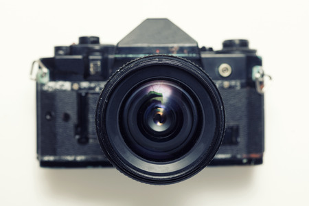 Frond view of retro photo camera Stock Photo - 38923224