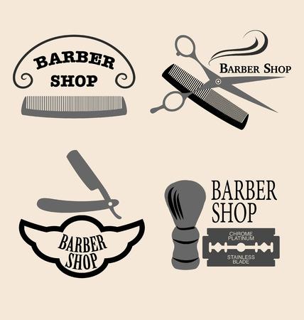barber: Vector set of vintage barber shop emblems.