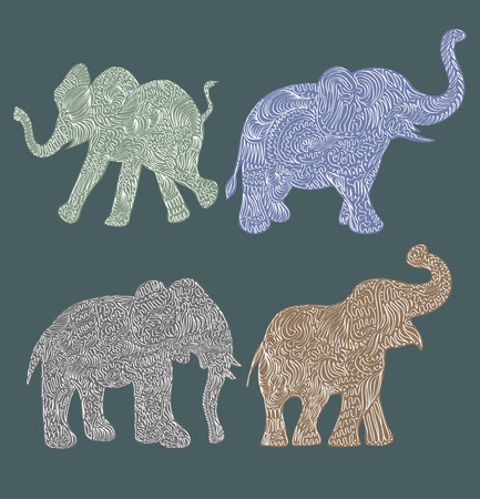 Stylised patterned elephant. Hand drawn vector illustration