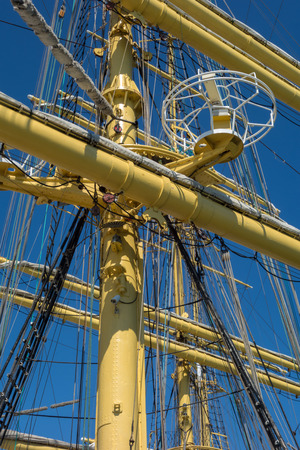 rope ladder: Marine rope ladder at pirate ship. Sea hemp ropes on the old nautical vessel. Stock Photo