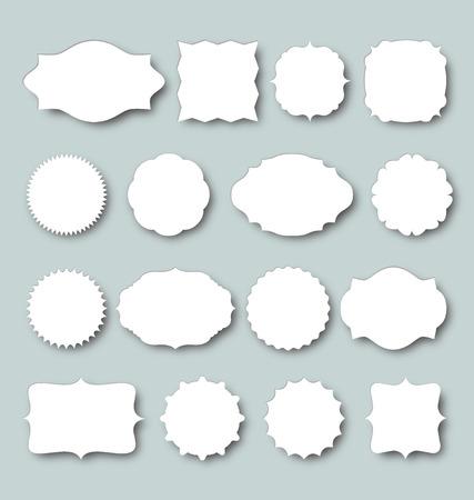 Blank frame and label set. Vector illustration with design elements.