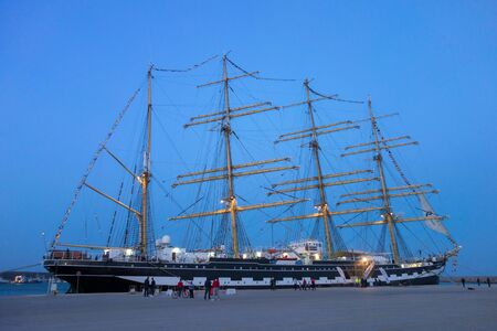 barque: ALEXANDROUPOLIS, GREECE - APR 18, 2015: Old Russias barque Kruzenshtern ex Padua, visit the port of Alexandroupolis