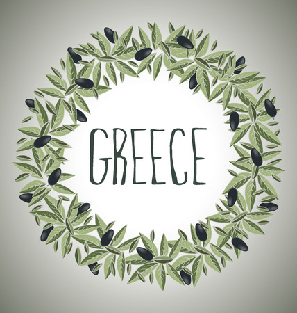 olive green: Decorative wreath olive branch  Greece