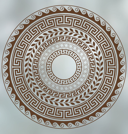 meander: Meander and wave. Ancient Greek borders. Set of circular ornaments.