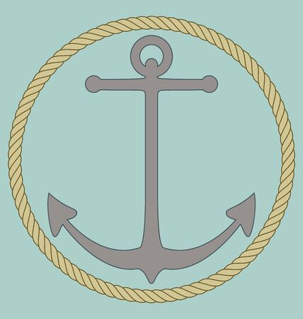 anchored: Anchor encircled with rope EPS 10